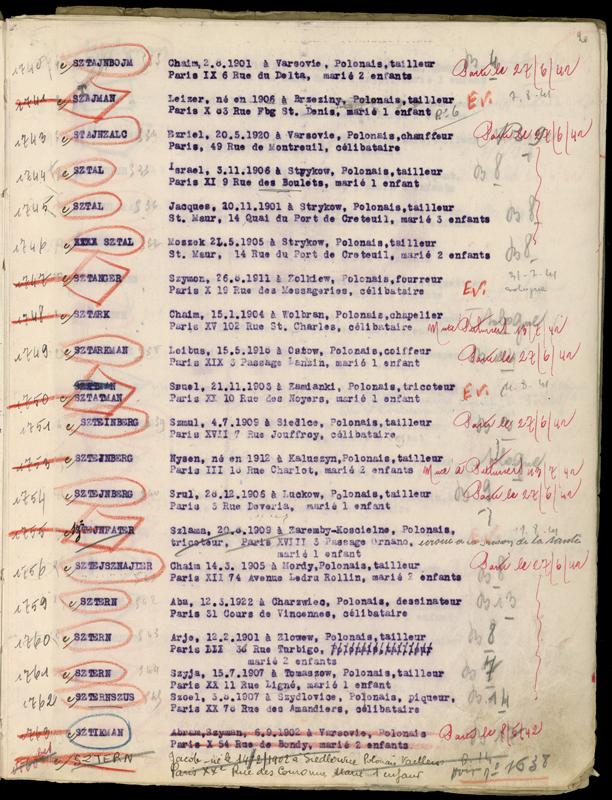Extrait du registre des internés du camp de Beaune-la-Rolande (1941-juillet 1942) – (Ycek) Israël Sztal. Archives départementales du Loiret – 175 W 34120