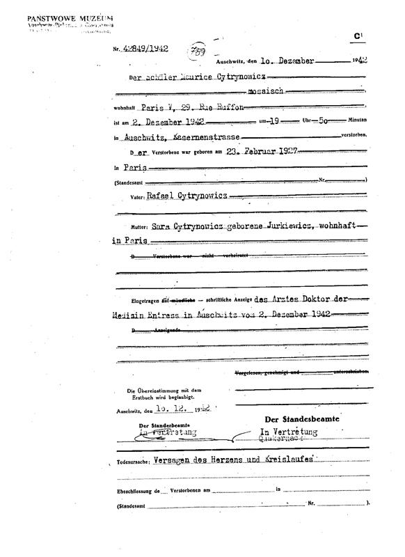 Formulaire rempli au camp d'Auschwitz. Acte de décès de Maurice Cytrynowicz. Il serait décédé d'une crise cardiaque à l'âge de 15 ans. Archives du Musée d'Auschwitz