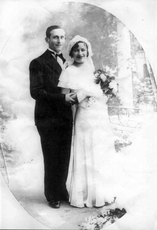 Aron Flantzer et Charlotte Pessah, le jour de leur mariage (sd, sl). Archives familiales