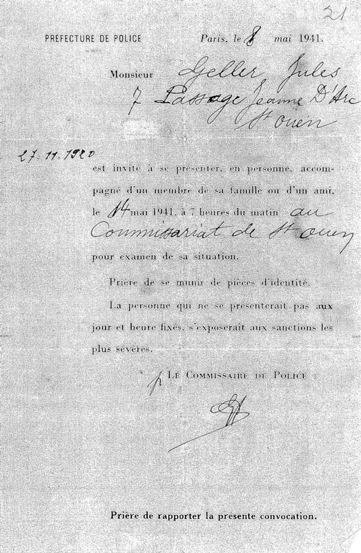 Le «billet vert» de Jules Geller (8 mai 1941). Archives familiales