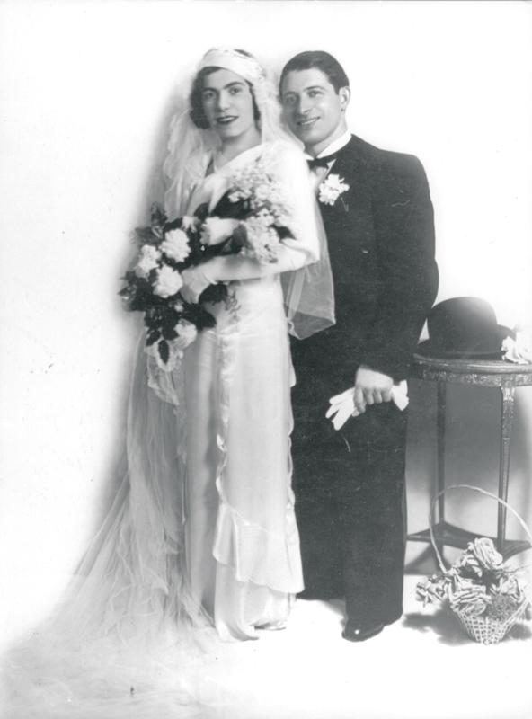 Photo de mariage de Leib et Bella Kajman (sd, sl). Archives familiales