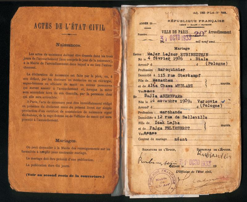 Première page du livret de la famille Rubinsztejn : Mejer et Bajla se marient le 31 octobre 1933 à Paris. Archives familiales