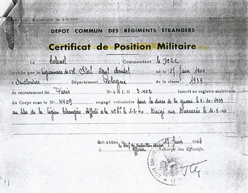 Certificat de position militaire de Strul Mendel Stal, engagé volontaire pendant la durée de la guerre en 1939 (17 juin 1946). Archives familiales