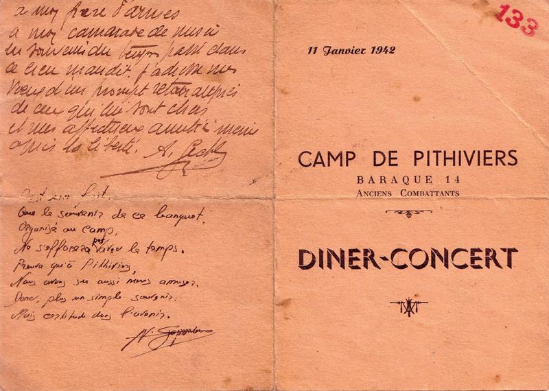 «Dîner-concert» donné au camp de Pithiviers, le 11 janvier 1942, par les anciens combattants. Menu dédicacé appartenant à Mosjez Stoczyk (11 janvier 1942) (recto). Archives familiales