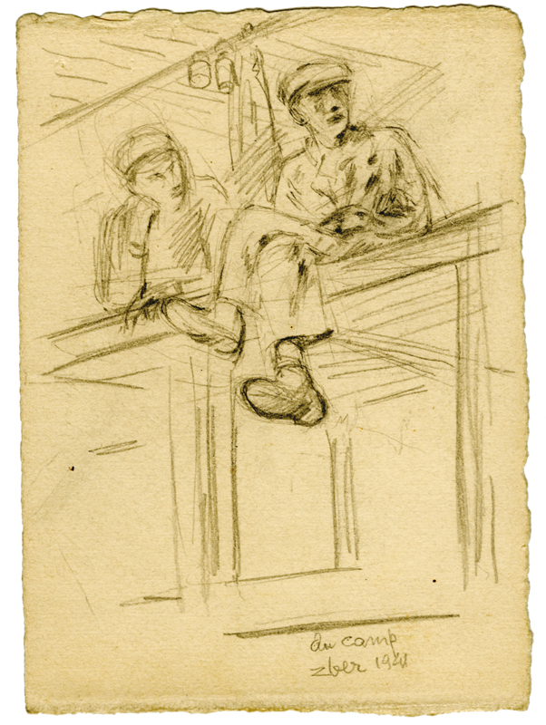 Sans titre, F.Zber, 1941 (recto). Inscription : « Au camp / Zber 1941 ». Dessin au crayon graphite sur papier. 14,5 x 10 cm. Collection Cercil n°INV 03