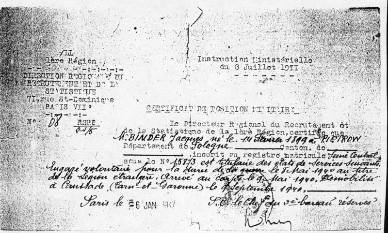 Certificat de position militaire de Jacob (Jacques) Binder, délivré en janvier 1947. Archives familiales