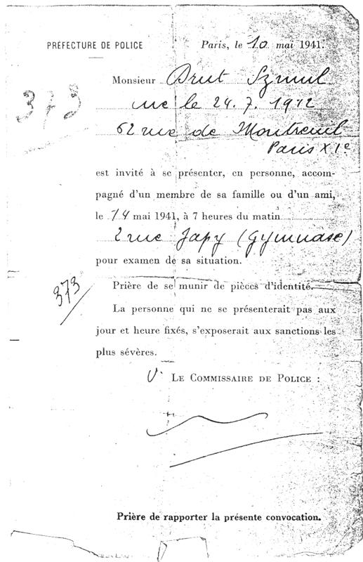 Le «billet vert» de Szmul Drut (10 mai 1941). Archives familiales