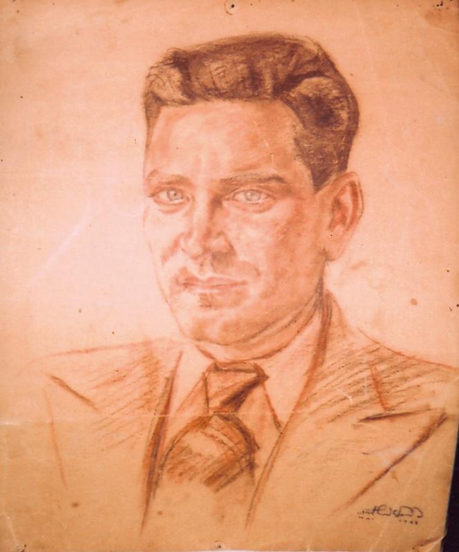 """Portrait de Chaïm Goldsztajn par l'artiste interné Arthur Weisz (camp de Pithiviers, mai 1942). Inscription """"Arthur Weisz / MAI 1942"""". Archives familiales"""