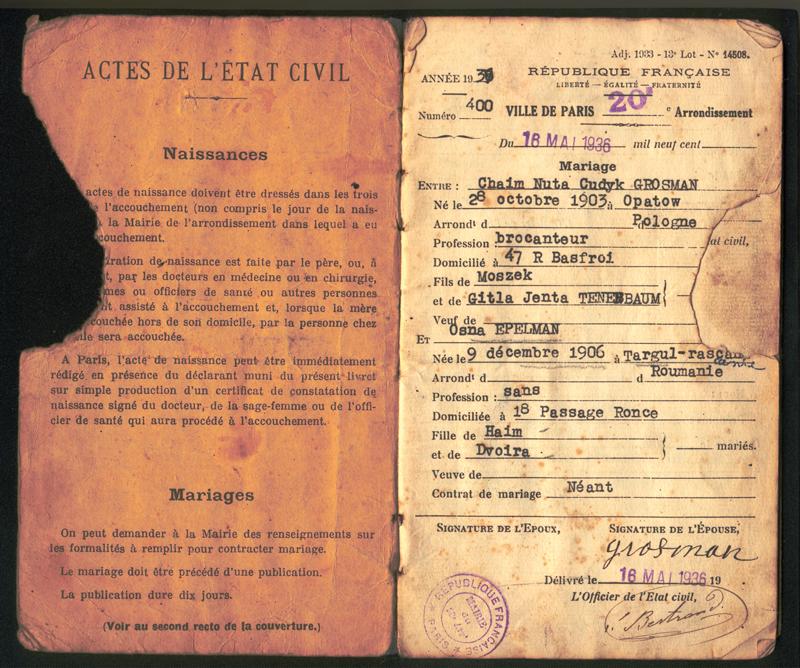 Première page du livret de la famille Grosman: Chaïm et Osna se marient le 18 mai 1936 à Paris. Archives familiales