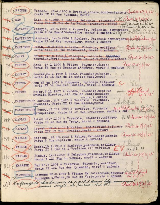 Extrait du registre des internés du camp de Beaune-la-Rolande (1941-juillet 1942). Archives départementales du Loiret