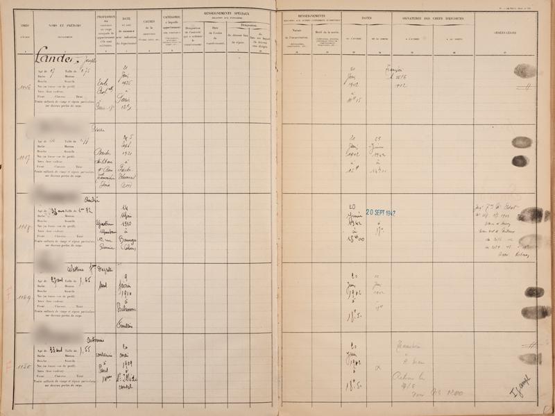 Registre d'écrou de la prison de Bourges où Joseph Lander est incarcéré le 20 juin 1942 avant d'être transféré au camp de Beaune-la-Rolande le 26 juin. Archives départementales du Cher – 1548 W 0011