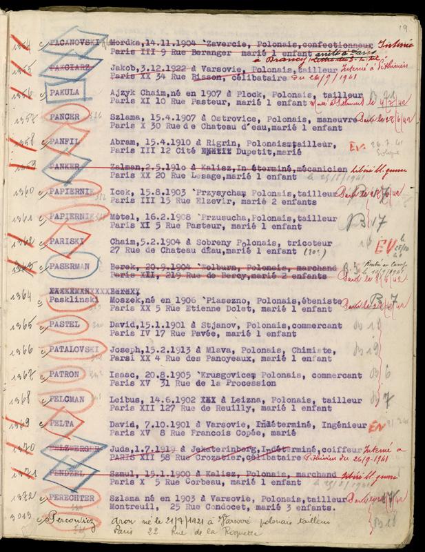 Extrait du registre des internés du camp de Beaune-la-Rolande (1941-juillet 1942) consignant les noms de Motel et Icek (Isaac) Papiernik. Archives départementales du Loiret – 175 W 34120