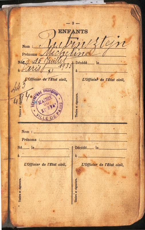 Page du livret de la famille Rubinsztejn : Micheline naît le 15 juillet 1935 à Paris 11e. Archives familiales