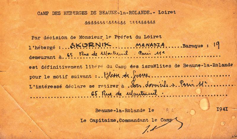 Certificat de libération du camp de Beaune-la-Rolande établi au nom de Menasze Skurnik, blessé de guerre (26 août 1941). Archives familiales