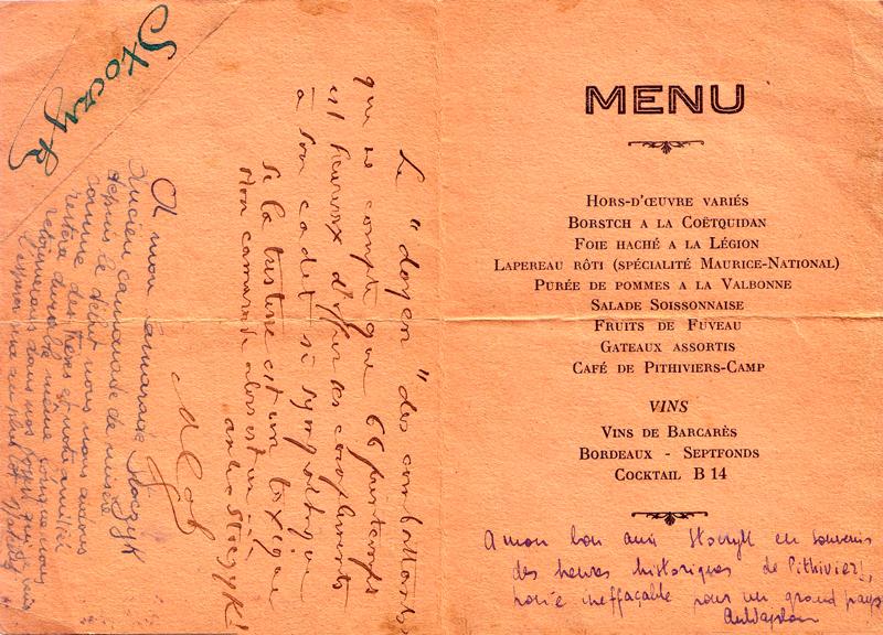 «Dîner-concert» donné au camp de Pithiviers, le 11 janvier 1942, par les anciens combattants. Menu dédicacé appartenant à Mosjez Stoczyk (11 janvier 1942) (verso). Archives familiales
