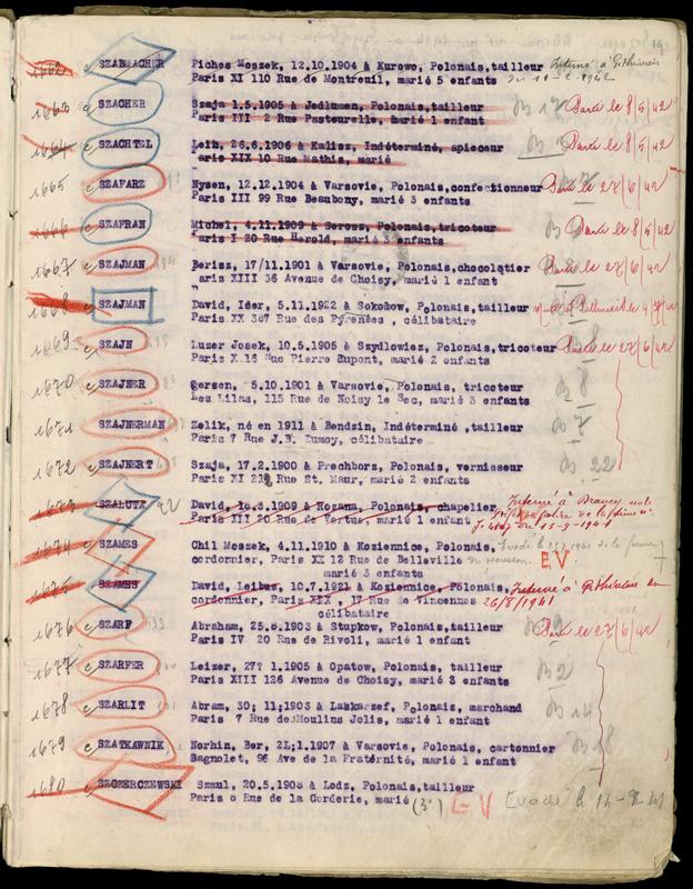 Extrait du registre des internés du camp de Beaune-la-Rolande (1941-juillet 1942) – Michel Szafran. Archives départementales du Loiret – 175 W 34120