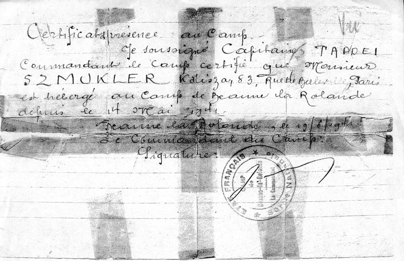 Certificat de présence au camp de Beaune-la-Rolande, établi au nom de Kalma-Jankiel (Kalisza) Szmukler (19 juin 1941). Archives familiales