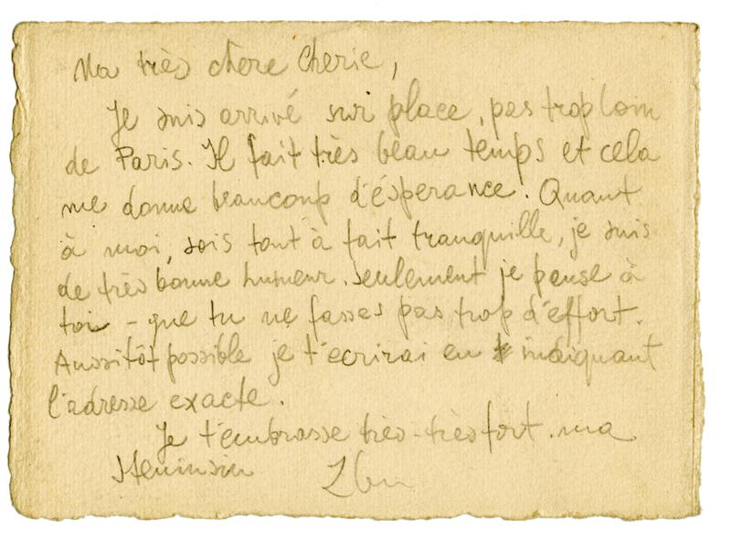 Sans titre, F.Zber, 1941 (verso). Lettre non datée. 10 x 14,5 cm. Collection Cercil n°INV 03