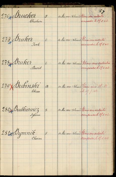 Extrait du registre des internés du camp de Pithiviers (« Camp de Pithiviers / 1942 ») Archives départementales du Loiret – 20 M 782