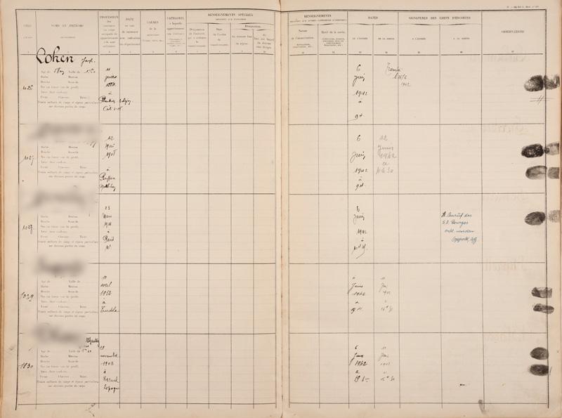 Registre d'écrou de la prison de Bourges où Joseph Cohen est incarcéré le 6 juin 1942 avant d'être transféré au camp de Beaune-la-Rolande le 26 juin. Archives départementales du Cher – 1548 W 0011