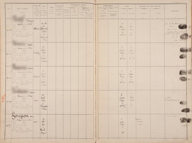 Registre d'écrou de la prison de Bourges où Marc Gougeon est incarcéré le 6 juin 1942 avant d'être transféré au camp de Beaune-la-Rolande le 26 juin. Archives départementales du Cher – 1548 W 0011