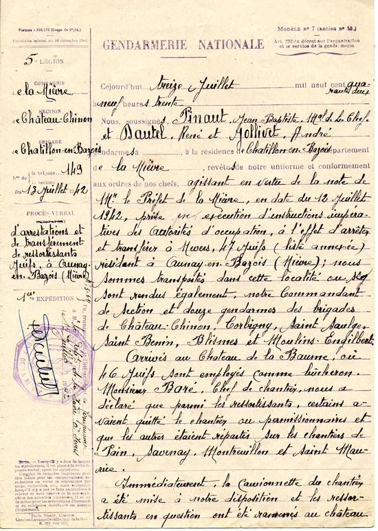 Extrait du procès-verbal de gendarmerie rendant compte de l'arrestation de 47 Juifs, dont Jacob (Jacques) Binder, à Aunay-en-Bazois dans la Nièvre (13 juillet 1942) – page 1. Archives départementales de la Nièvre - 115 W 83