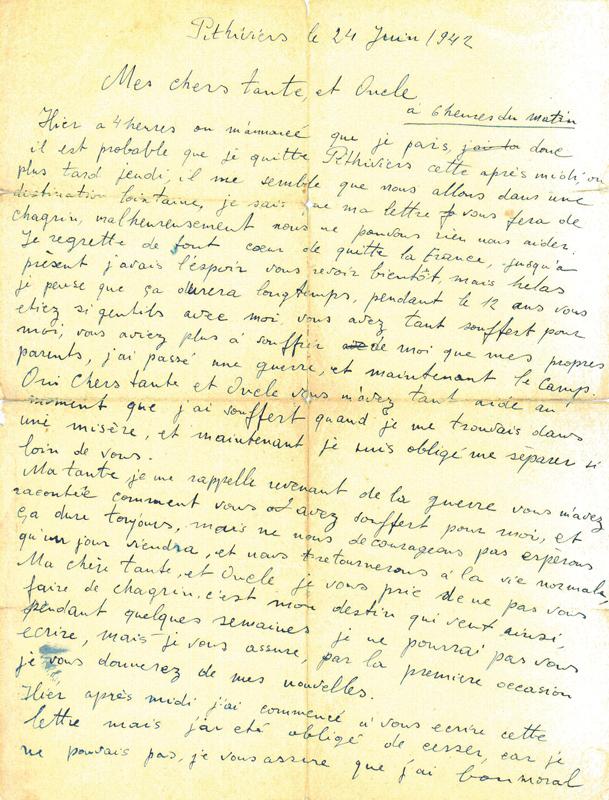 Dernière lettre d'Elias Ejzenfarb à ses oncle et tante (24 juin 1942, camp de Pithiviers) (recto). Archives familiales