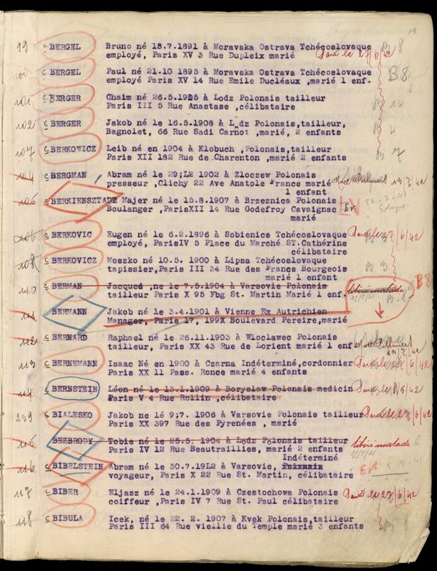 Extrait du registre des internés du camp de Beaune-la-Rolande (1941-juillet 1942) – Jakob Berger. Archives départementales du Loiret – 175 W 34120