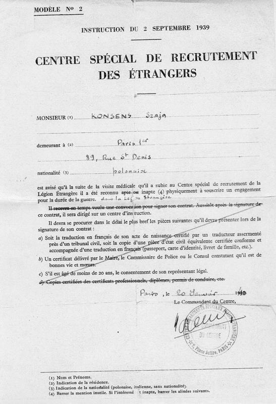 Avis du Centre Spécial de Recrutement des Étrangers qui déclare Szaja Konsens inapte à s'engager dans la Légion étrangère pendant la durée de la guerre (20 janvier 1940). Archives familiales