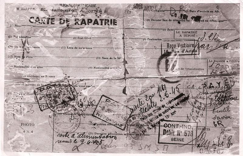 Carte de rapatrié et titre provisoire d'identité d'Abraham Kreps (verso) (juin? 1945). Archives familiales
