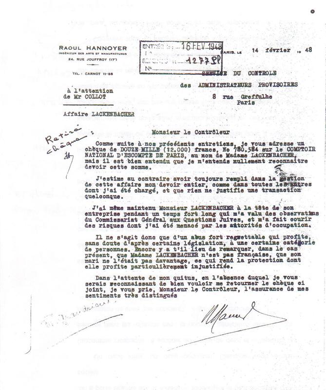 Courrier de contestation de Raoul Honnoyer, administrateur provisoire des biens de Ludwig Lackenbacher, adressé au SCAP, au sujet d'une somme de 12 000 francs qu'il estime ne pas devoir à Madame Lackenbacher (14 février 1948). Archives Nationales