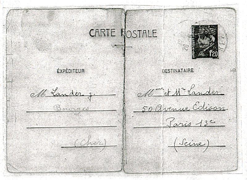 Carte postale écrite à ses parents par Joseph Langer depuis la prison de Bourges (26 juin 1942) (recto). Archives familiales