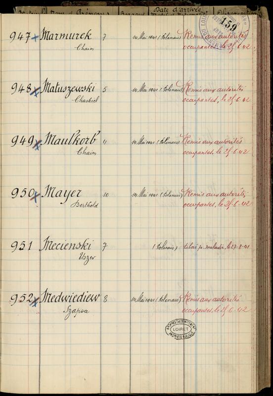 """Extrait du registre des internés du camp de Pithiviers (""""Camp de Pithiviers / 1942""""). Archives départementales du Loiret – 20 M 782"""