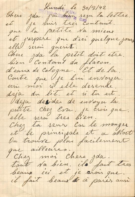 Lettre écrite par Leizer Miliband, au camp de Beaune-la-Rolande (30 mars 1942) (recto). Archives familiales