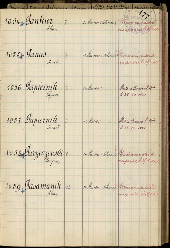 Extrait du registre des internés du camp de Pithiviers (« Camp de Pithiviers / 1942 »). Fajwel (Félix) et Israël (Charles) Papiernik sont transférés au camp de Beaune-la-Rolande le 28 octobre 1941. Archives départementales du Loiret – 20 M 782