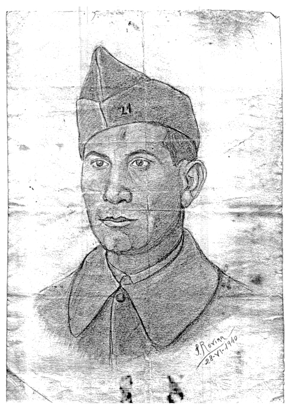 "Portrait d'Abraham Reiman, engagé volontaire à Barcarès en 1940. Inscription : ""S. ROVIRA ( ?) / 28-VI-1940"". Archives familiales"