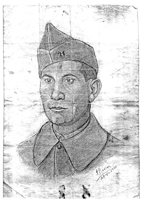 """Portrait d'Abraham Reiman, engagé volontaire à Barcarès en 1940. Inscription: """"S. ROVIRA (?) / 28-VI-1940"""". Archives familiales"""
