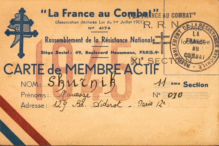 Carte de membre actif de la France au Combat établie au nom de Menasze Skurnik (sd). Archives familiales