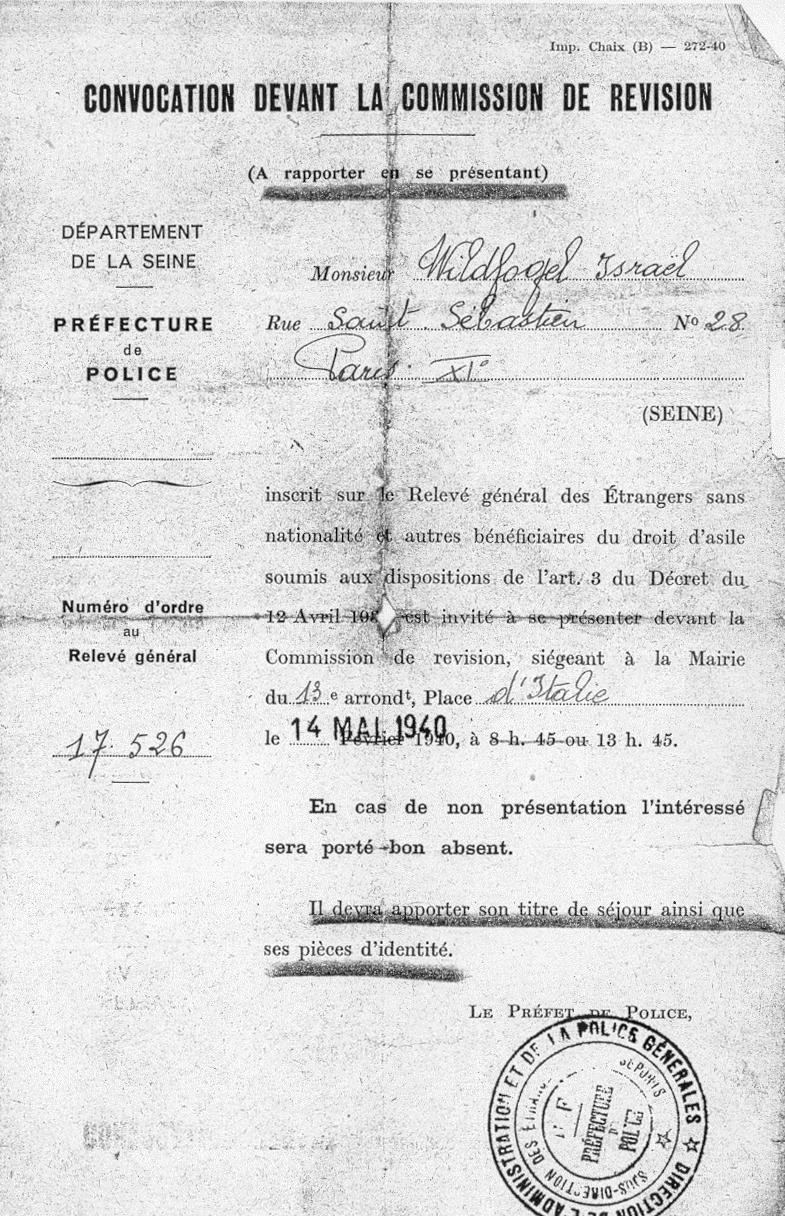 Convocation devant la commission de révision établie au nom d'Israël Wildfogel, durant laquelle, le 14 mai 1940, il sera déclaré apte. Archives familiales