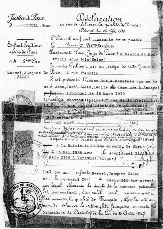 Déclaration en vue de réclamer la qualité de Français pour Marcel Zajac (15 novembre 1944). Archives familiales