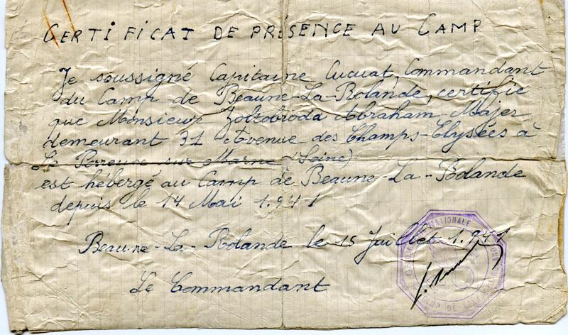 Certificat de présence au camp de Beaune-la-Rolande établi au nom d'Abraham Zoltobroda (15 juillet 1941). Archives familiales