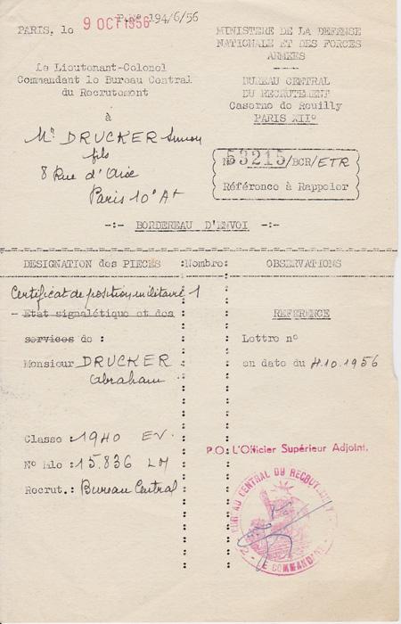 Certificat de l'engagement militaire Classe 1940 établi au nom d'Abraham Drucker (9 octobre 1956) Archives familiales