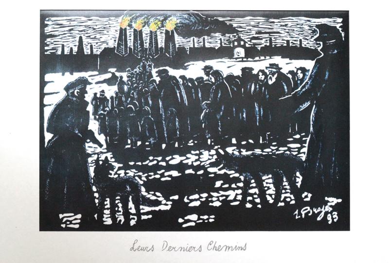 «Leurs derniers chemins», Zelman Brajer, 1993. Reproduction d'œuvre graphique sur papier. 25,2 x 33 cm. Collection Cercil n°INV 130