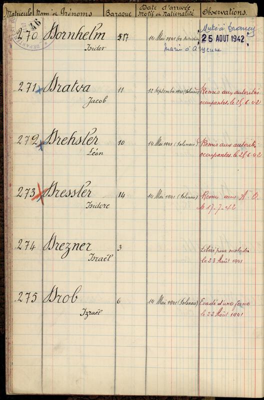 Extrait du registre des internés du camp de Pithiviers (14 mai 1941-13 juillet 1942). Archives départementales du Loiret