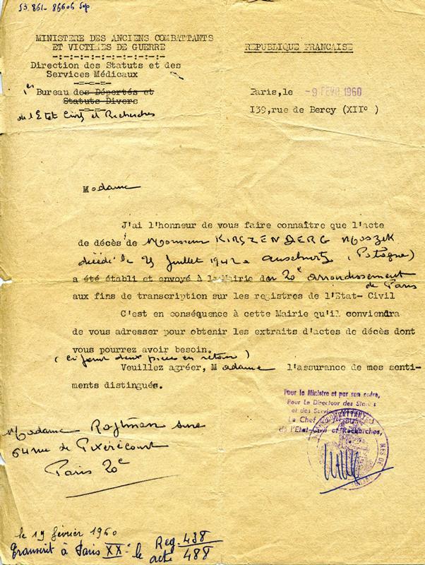 Courrier concernant l'établissement de l'acte de décès de Moszek Kirszenberg par le Ministère des Anciens Combattants et Victimes de Guerre (9 février 1960). Archives familiales
