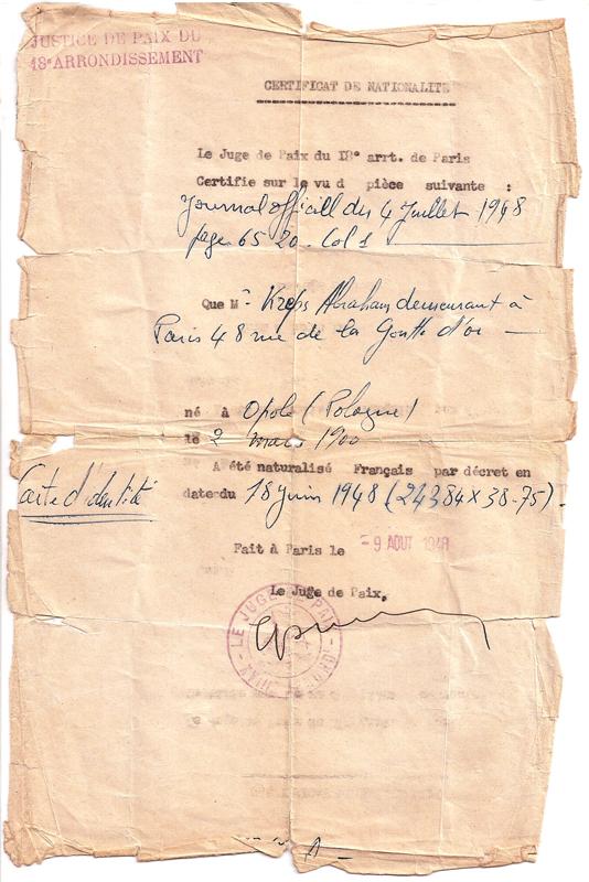 Certificat attestant qu'Abraham Kreps a obtenu la nationalité française par décret du 18 juin 1948 (9 août 1948). Archives familiales