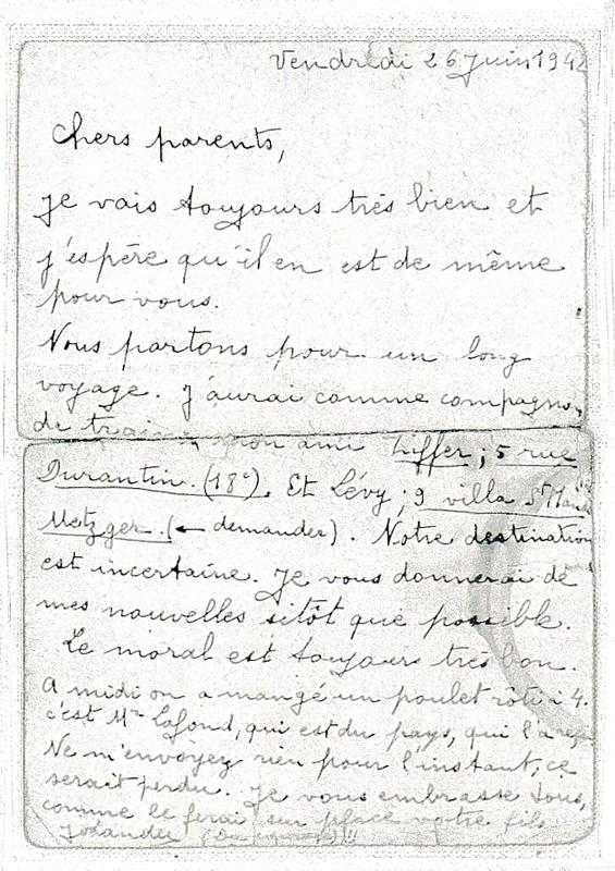 Carte postale écrite à ses parents par Joseph Langer depuis la prison de Bourges (26 juin 1942) (verso) Archives familiales