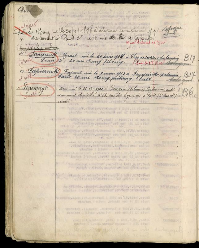 Extrait du registre des internés du camp de Beaune-la-Rolande (1941-juillet 1942). Inscription de Fajwel (Félix) et Israël (Charles) Papiernik, après leur transfert du camp de Pithiviers le 28 octobre 1941. Archives départementales du Loiret – 175 W 34120