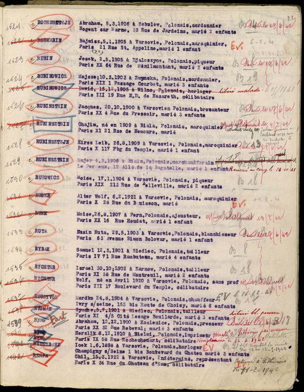 Extrait du registre des internés du camp de Beaune-la-Rolande (1941-juillet 1942). Mejer Rubinsztejn est «remis aux autorités allemandes le 10/10/41». Archives départementales du Loiret – 175 W 34120. Mejer Rubinsztejn est écroué la maison d'arrêt d'Orléans le 10 octobre 1941 sur ordre du tribunal allemand de Paris, suite à une condamnation le 5 avril 1941 pour défaut de pancarte de commerçant juif. Sa peine purgée, il est à nouveau transféré au camp de Beaune-la-Rolande le 24 octobre 1941.