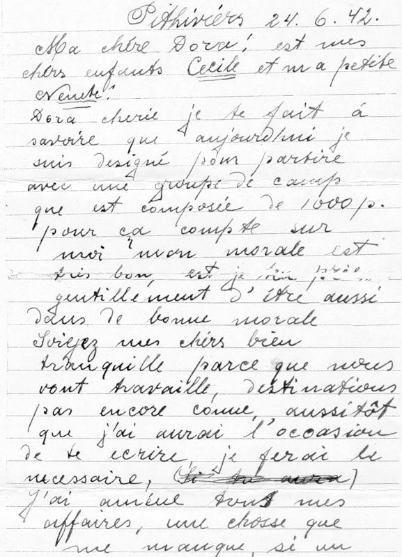 Dernière lettre écrite du camp de Pithiviers par Paul Waitman, le 24 juin 1942, la veille de sa déportation (recto). Archives familiales